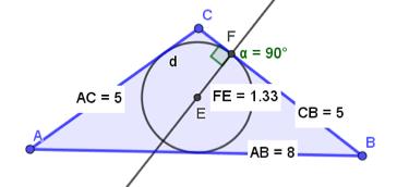 [i]ACTIVIDAD 3: CIRCUNFERENCIA INSCRITA A UN TRIÁNGULO[/i] Represente gráficamente un triángulo isósceles cuyos lados midan 8 u, 5 u y 5 u