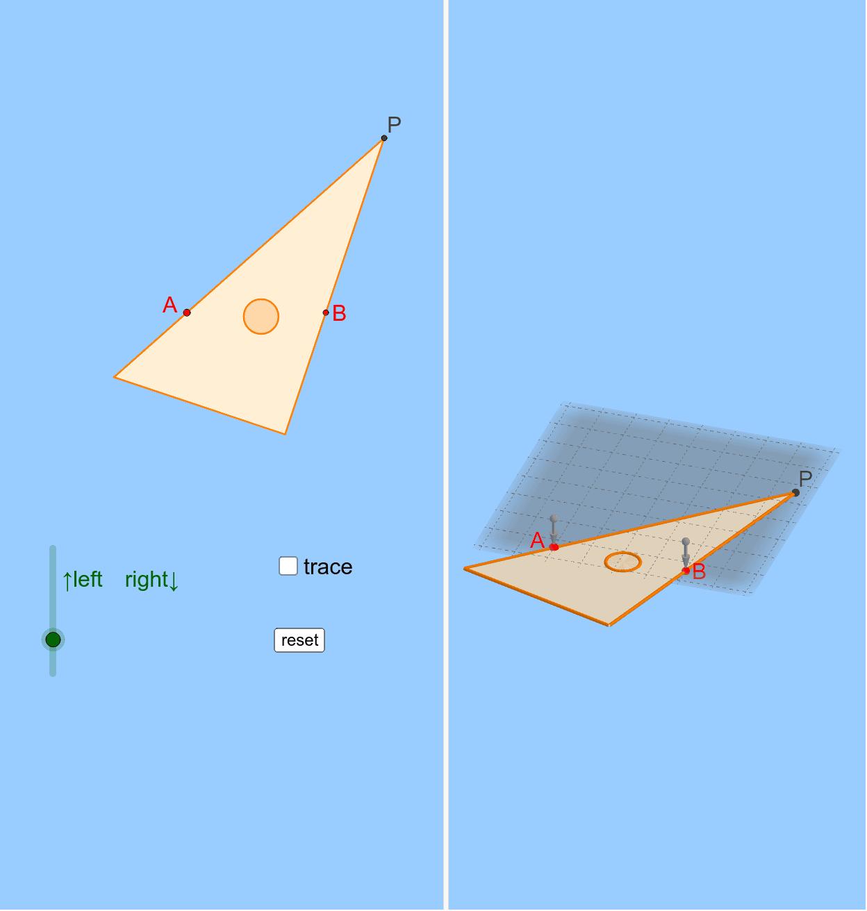 三角定規を2本のピンA,Bにあてながら動かしていくと、頂点Pは?  ※右下のアイコンを押して画面を最適化してください。改訂版は https://www.geogebra.org/m/tahbxje4 ワークシートを始めるにはEnter キーを押してください。