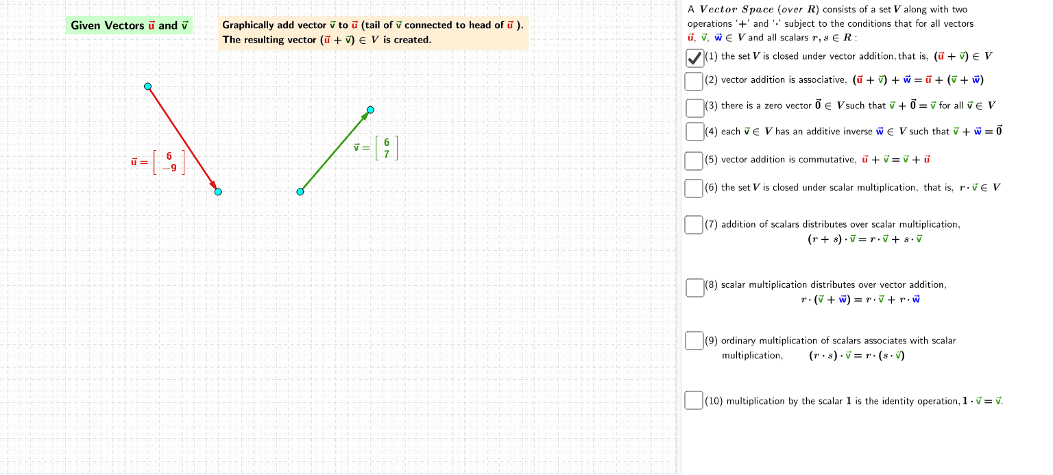Applet - Vector Space Definition Press Enter to start activity