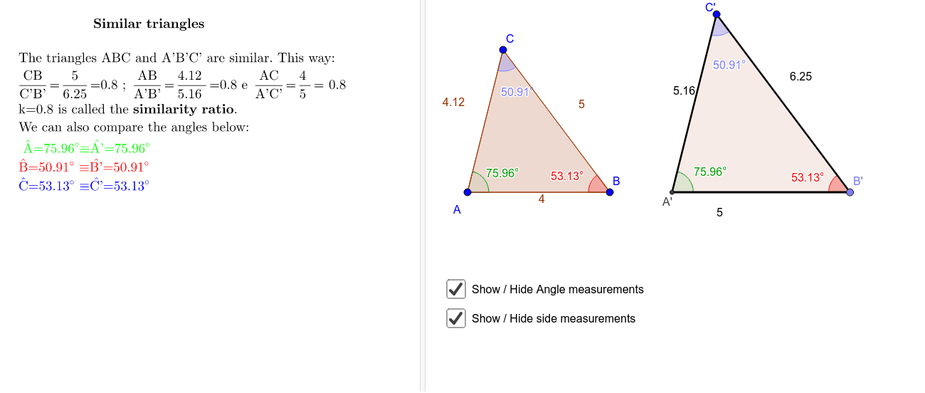 Triangle Similarity Definition Criteria And Demonstrations Geogebra