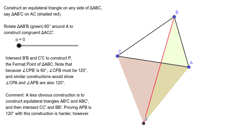 Construction of the Fermat Point of triangle ABC (all angles < 120 degrees)