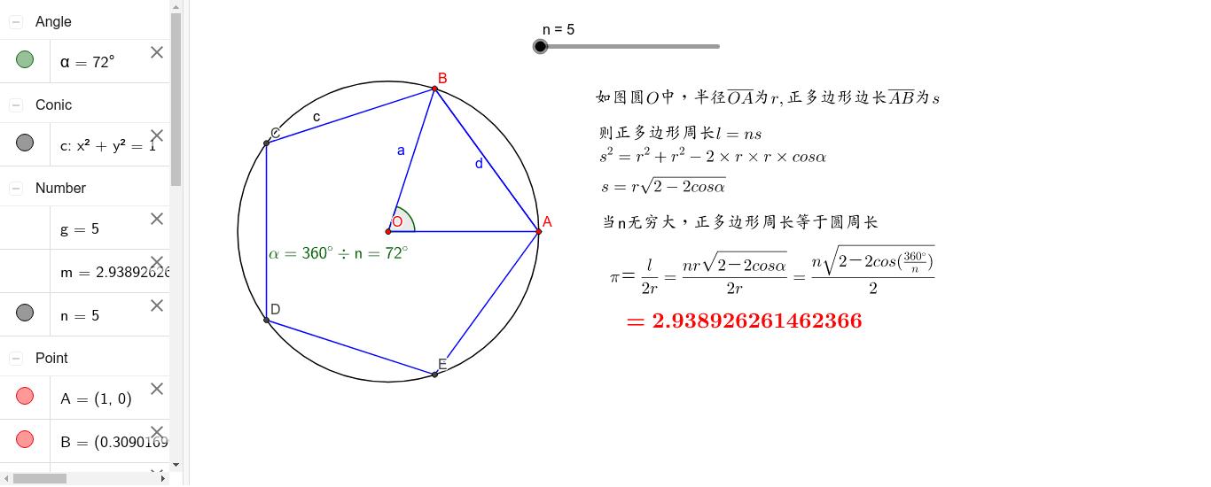 数列极限探究(求pi) 按 Enter 开始活动