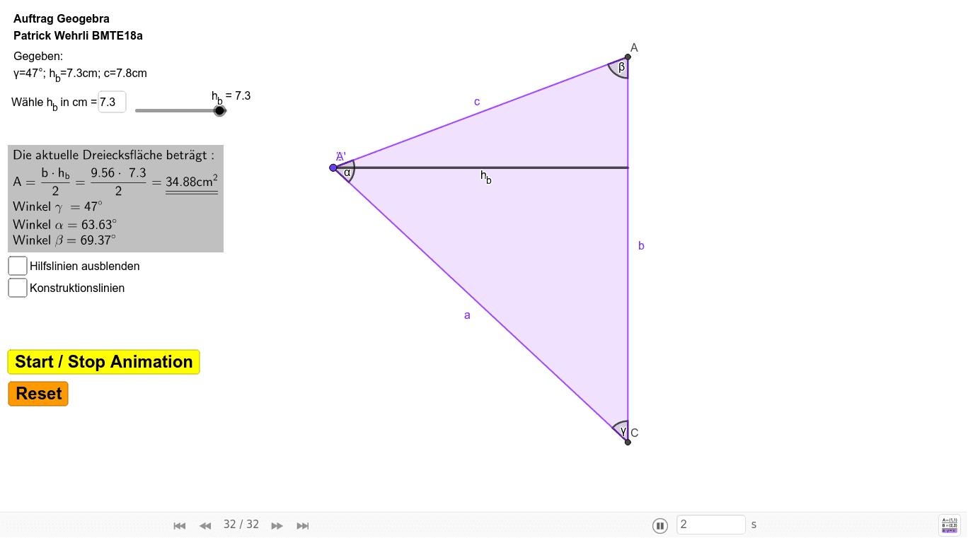 Dreieckskonstruktion mit folgenden gegeben Werten: c=7.8cm; γ=47°; hb=7,3cm - hb ist Parameter für Dynamik