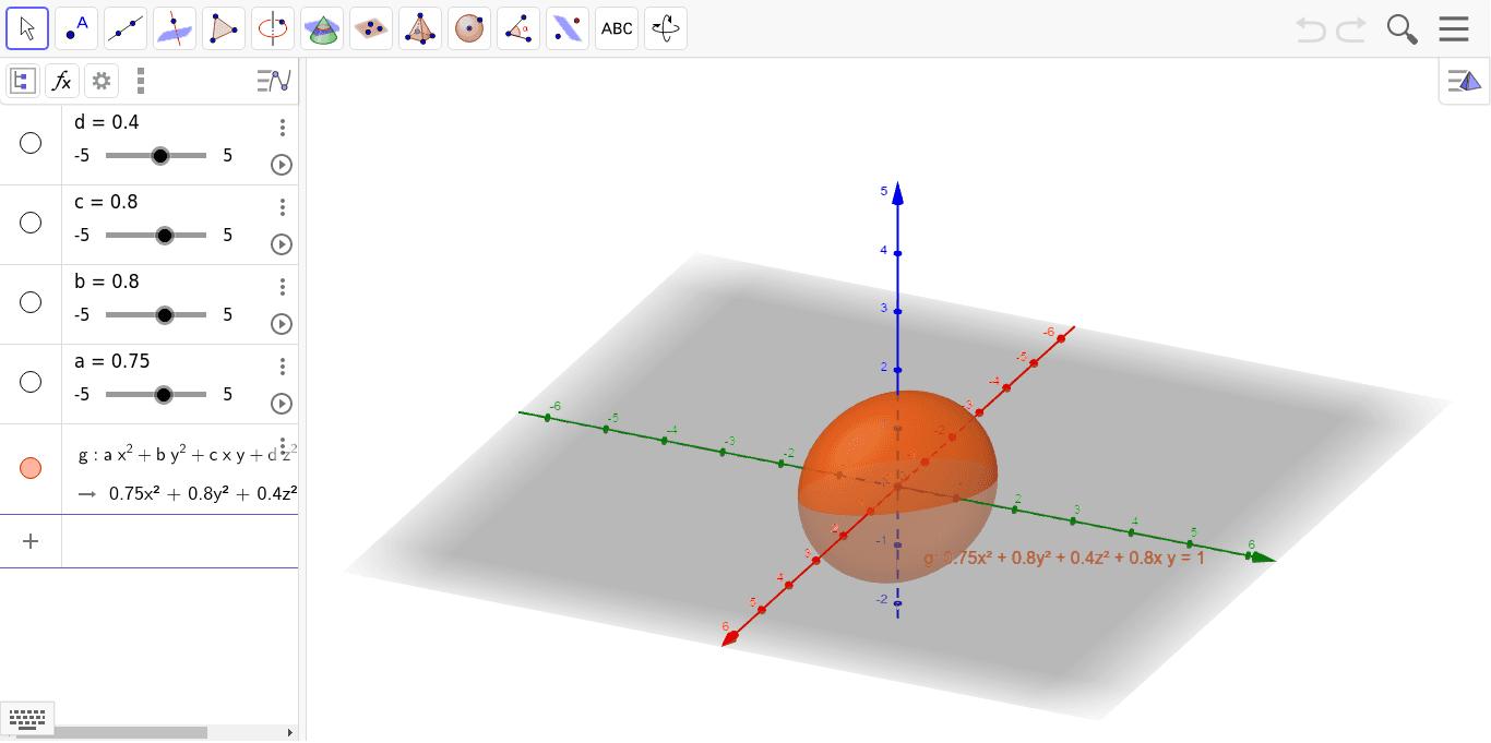 楕円面・楕円放物面・双曲放物面・一葉双曲面・二葉総曲面 ワークシートを始めるにはEnter キーを押してください。