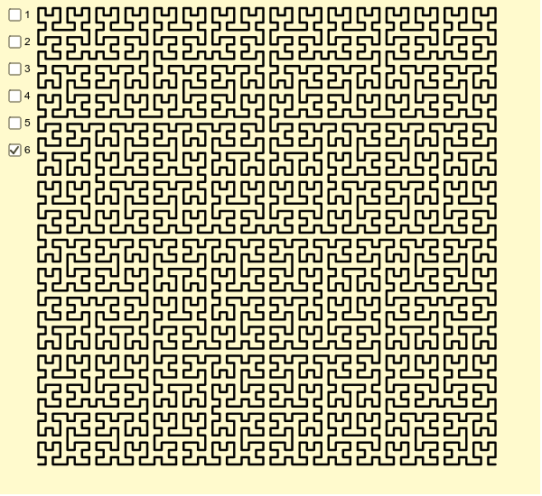 The first six iterations of the Hilbert curve Press Enter to start activity