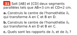 Triangles semblables : exercice 31 p 331(Sesamath cycle 4)