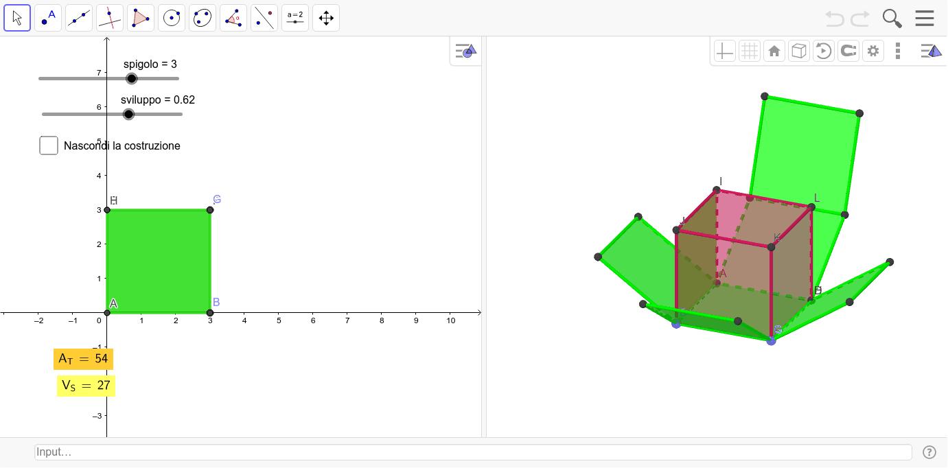 Costruiamo un Cubo e calcoliamo AT e V del Solido