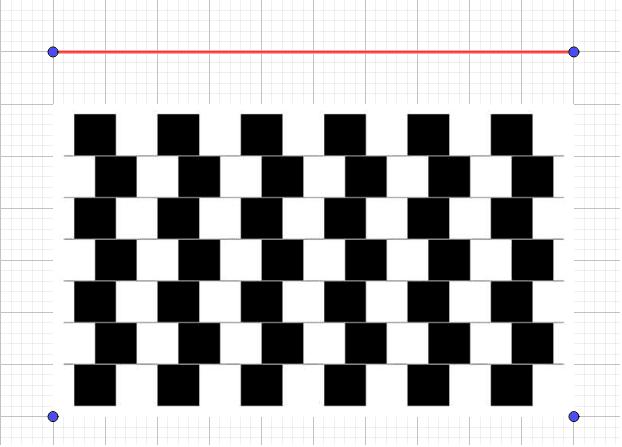 鼠色の横線は全て平行です! えー、信じられません。では赤い線の真ん中をつまんで動かして確かめてみましょう。 ワークシートを始めるにはEnter キーを押してください。