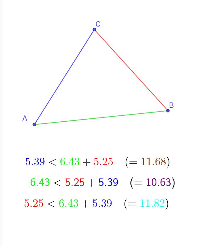 """En bougeant les points A, B ou C, vous pouvez vérifier que les 3 inégalités triangulaires sont toujours vraies. Tapez """"Entrée"""" pour démarrer l'activité"""