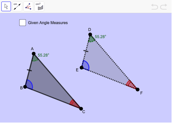 Move points A, B and C to change the size and shape of the triangles.  Use the toolbar to measure segment lengths, angles or area. Press Enter to start activity