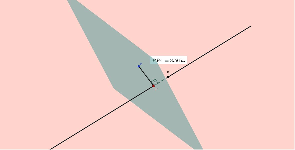 """Para visualizar la distancia de un punto a una recta, construimos el plano perpendicular a la recta que pasa por el punto. Así es fácil. Puedes girar el applet para ver el 3D. Tapez """"Entrée"""" pour démarrer l'activité"""