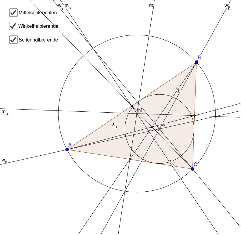 Besondere Linien und Punkte im Dreieck Press Enter to start activity