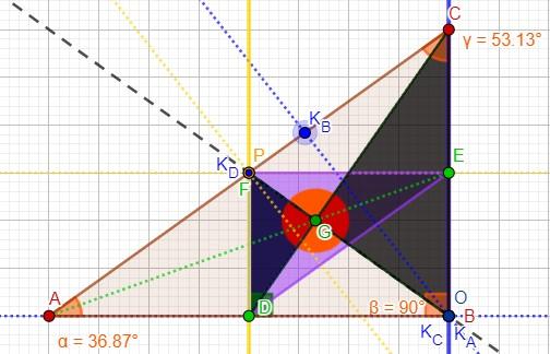 [size=150]La proporzione è ancora più evidente nel triangolo rettangolo (con angolo retto in B per esempio) in cui l'[color=#0000ff][b]altezza di C[/b][/color] coincide con il lato CO e l'[color=#f1c232][b]altezza di D[/b][/color] del triangolo mediano coincide con FD. Il rapporto è [b]2 a 1[/b] per le caratteristiche del triangolo mediano viste prima e perciò una volta dimostrata la somiglianza dei due triangoli si poteva confermare la tesi.[/size]