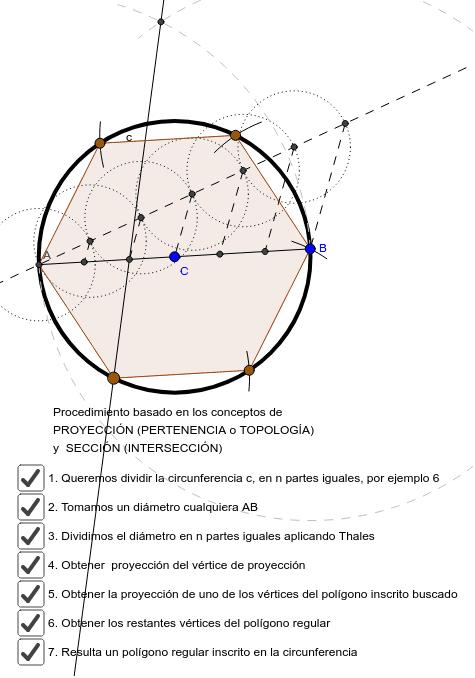dividir circunferencia en n partes iguales