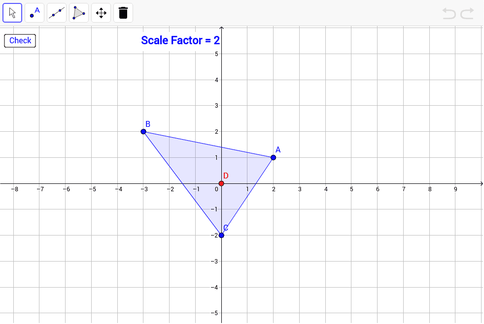 Dilate triangle ABC by the given scale factor with center of dilation D. Press Enter to start activity