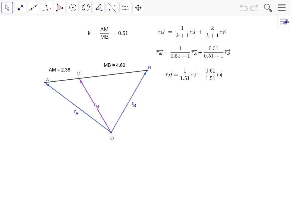 O este un punct fix în plan. Exprimăm vectorul de poziție al punctului M în funcție de vectorii de poziție ai punctelor A și B. Apăsați Enter pentru a începe activitatea
