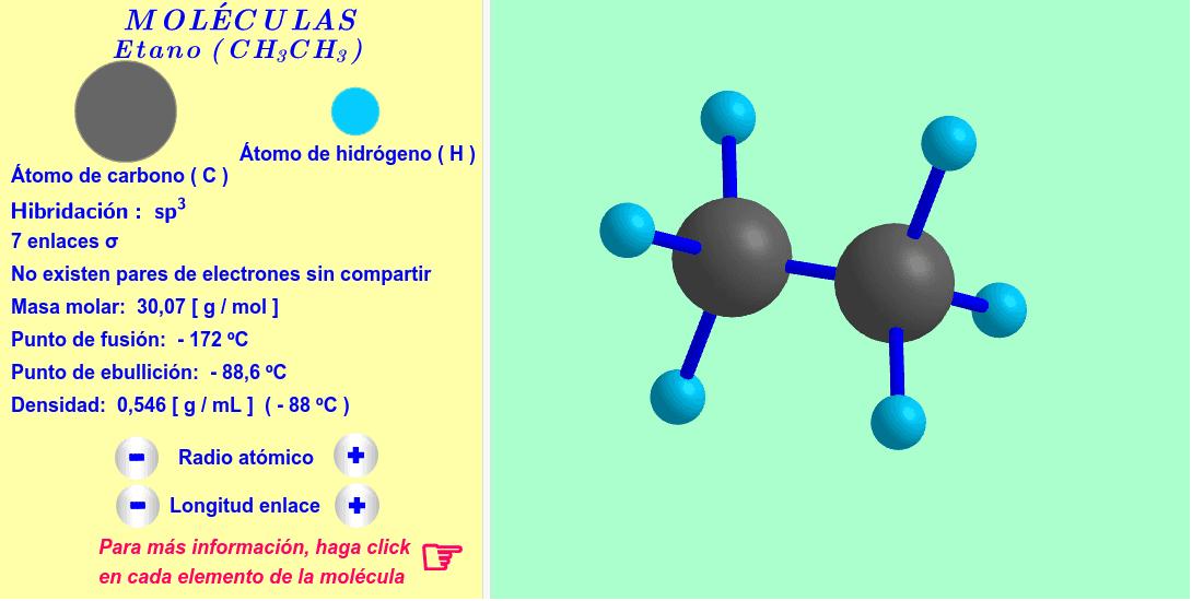 Un ejemplo de alcano: etano ( haga click en cada elemento de la molécula ).
