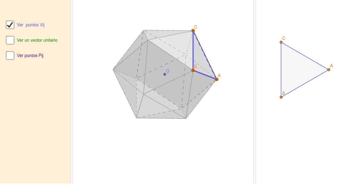 Applet para visualizar como calcular las coordenadas de los vértices de una cúpula de radio 1 Presiona Intro para comenzar la actividad