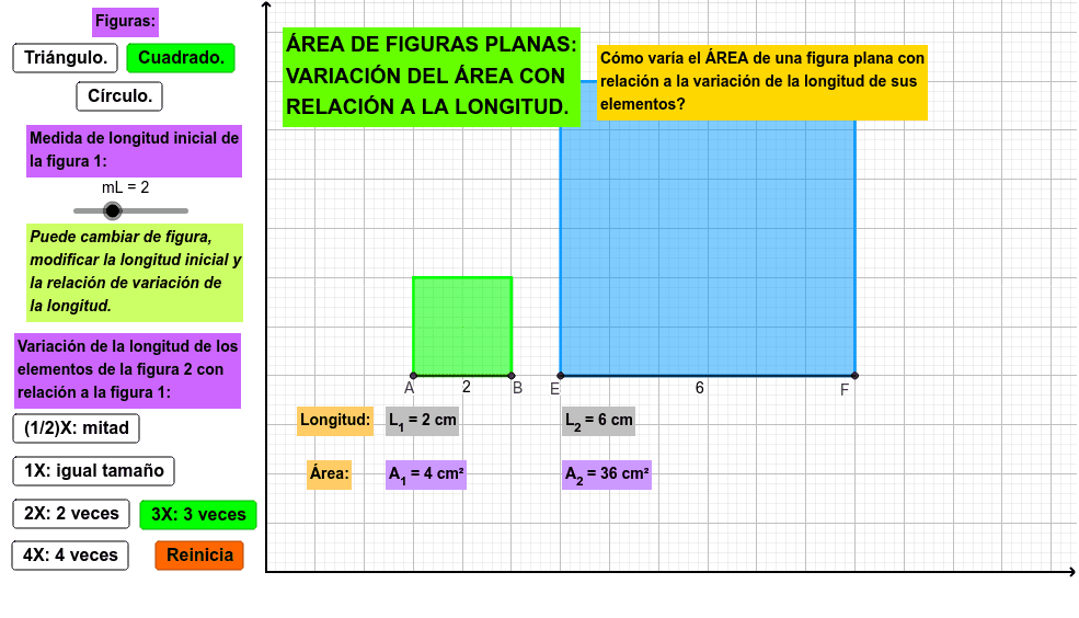 Aplicativo para analizar la variación del área de una figura plana con relación a la variación de la longitud de sus elementos
