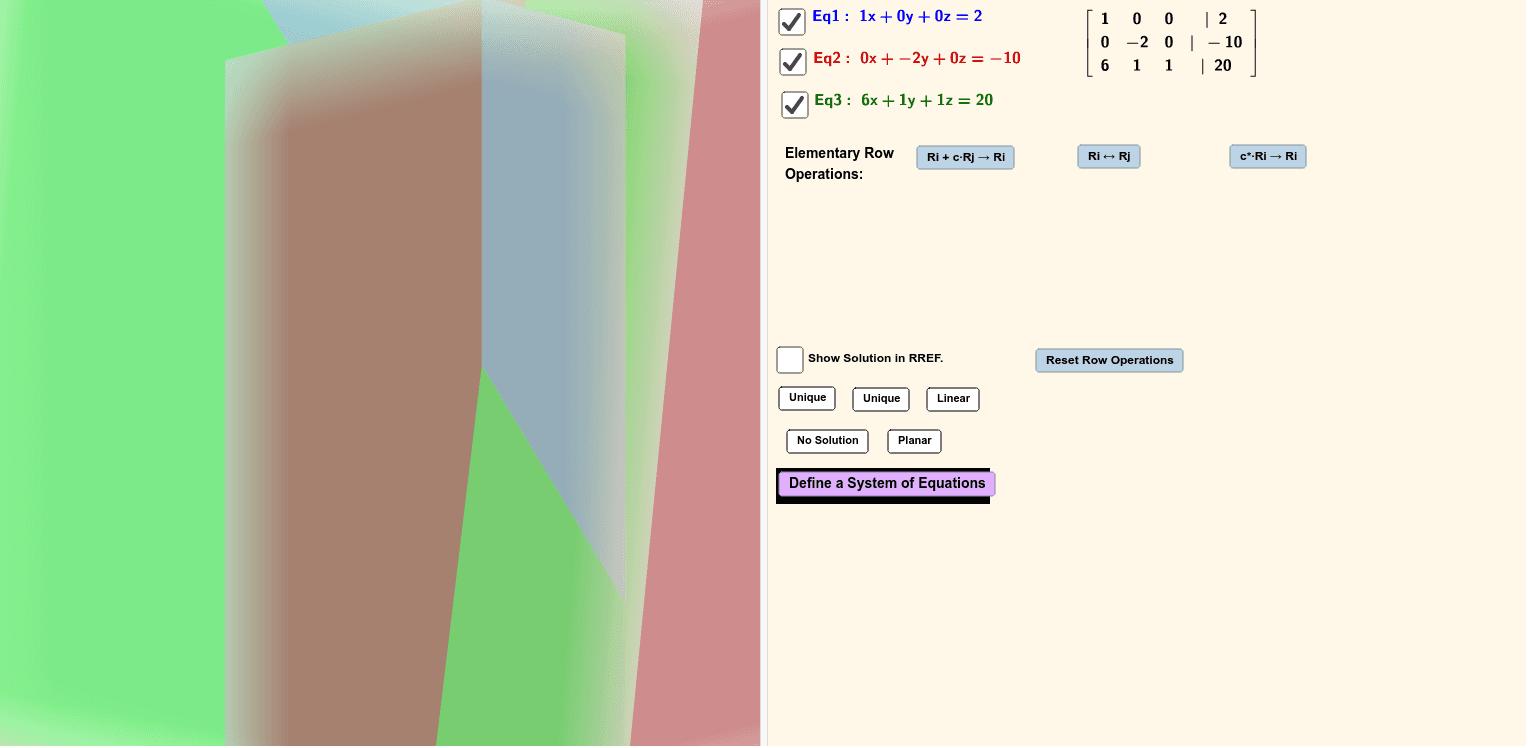 Applet - Gauss-Jordan Elimination Process Press Enter to start activity