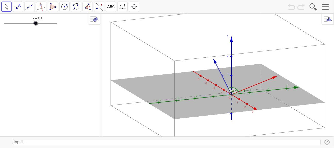 Mou el punt lliscant per observar l'angle entre els dos vectors
