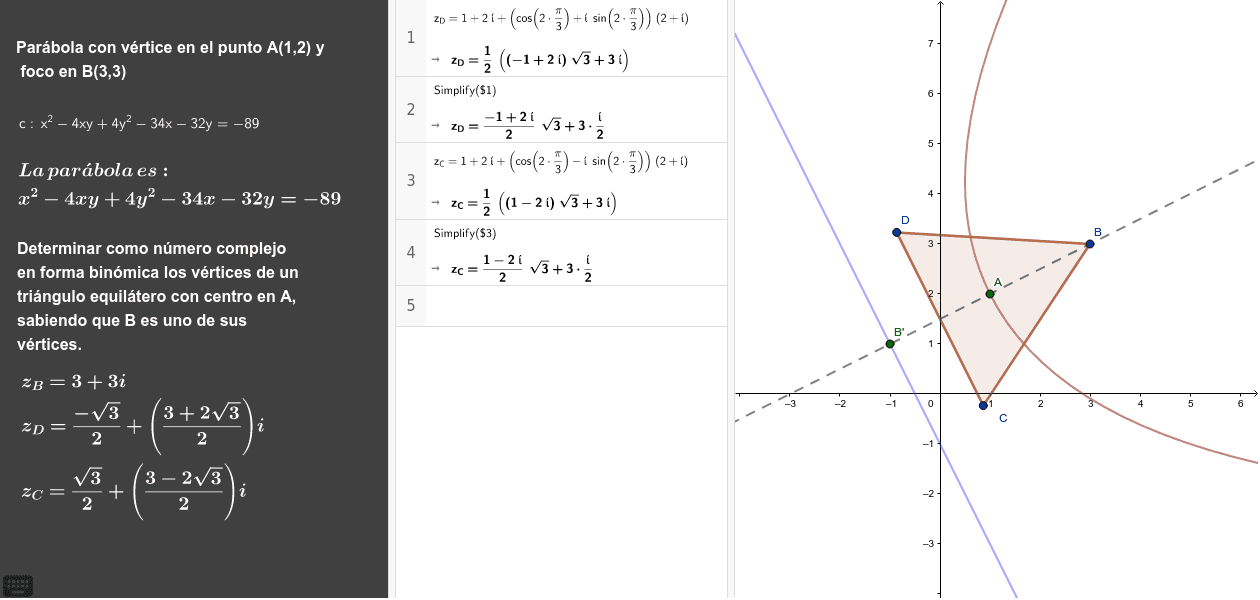 Calcular la ecuación de la parábola que tiene el vértice en el punto A y el foco en el punto B.