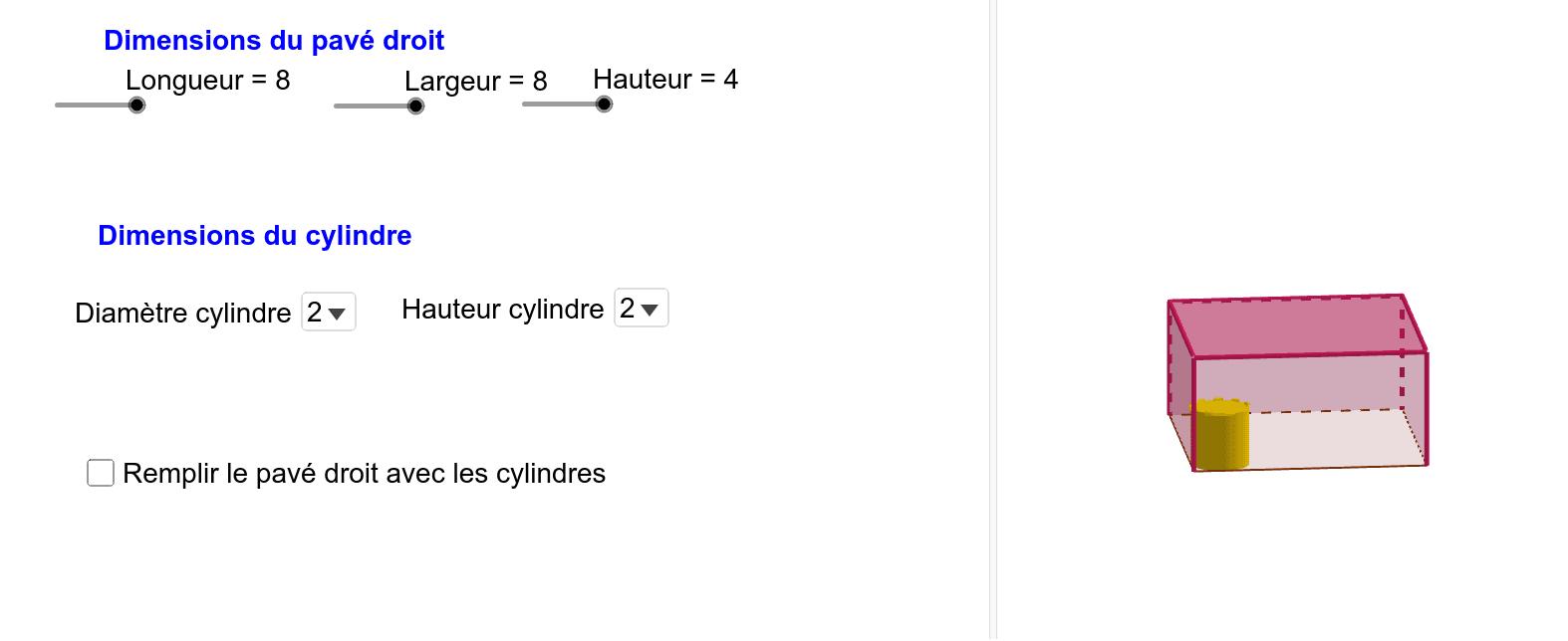 Pavage d'un pavé droit avec des cylindres