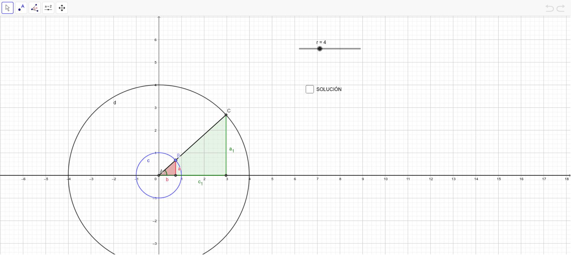 Desliza el punto B situado en la circunferencia goniométrica (en azul). Demuestra que los triángulos son semejantes, calcula el seno y coseno de los dos triángulos. ¿Son iguales? ¿Qué pasa con los signos de seno y coseno en cada cuadrante? Presiona Intro para comenzar la actividad