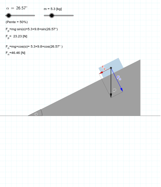 """Un objet de masse m est placé sur un plan incliné. Modifiez la masse de l'objet et/ou l'angle que fait le plan avec l'horizon (α) et calculez les deux composantes du poids. Vérifiez vos calculs sur le simulateur. Tapez """"Entrée"""" pour démarrer l'activité"""