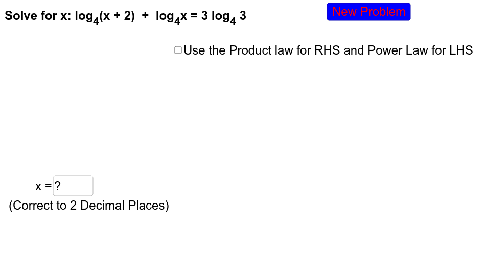 More advanced problems encouraging the use of multiple laws of logarithims to solve the equation.