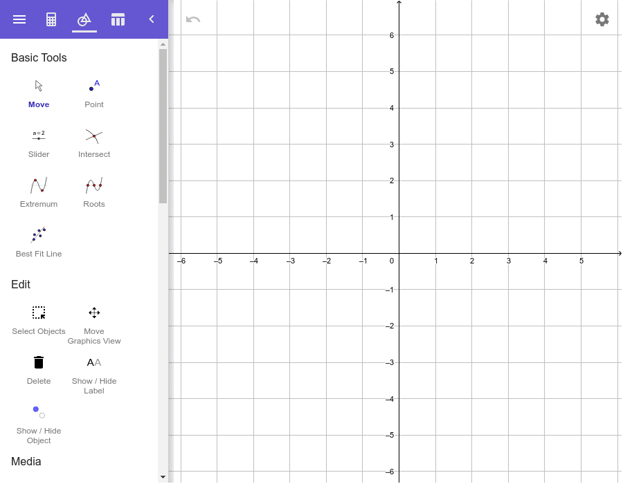 """Fenêtre Calculatrice graphique pour les fonctions et les relations Tapez """"Entrée"""" pour démarrer l'activité"""