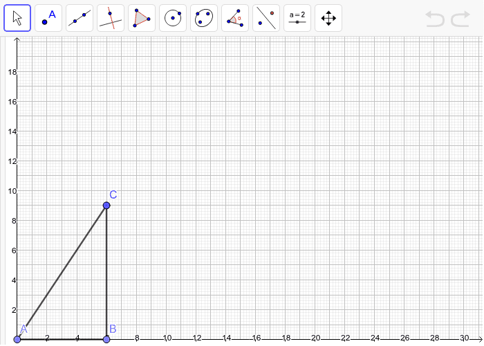 On the grid, draw a scale drawing of the triangle with a scale factor of 2.