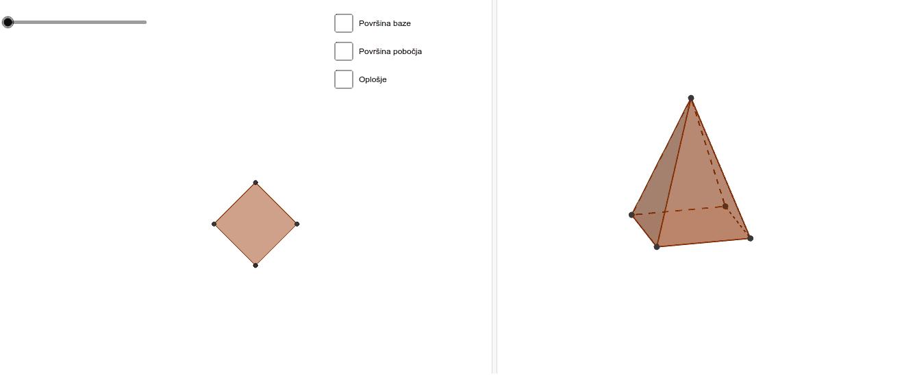 Pomičite kružić i dobit ćete mrežu piramide.  Znate li formule za površinu baze, pobočja te oplošje piramide? Klikom na kvadratić dobit ćeš odgovor na pitanja. Pritisnite Enter za pokretanje.