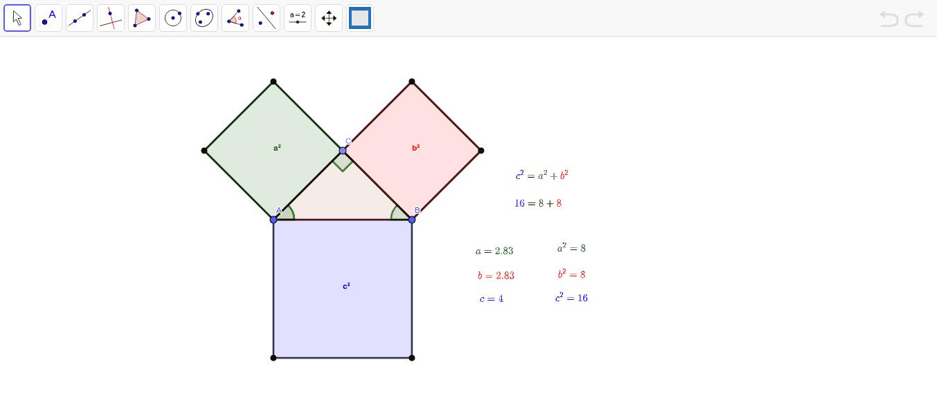 Mueve los puntos A, B o C y observa cómo se cumple el Teorema de Pitágoras. Presiona Intro para comenzar la actividad