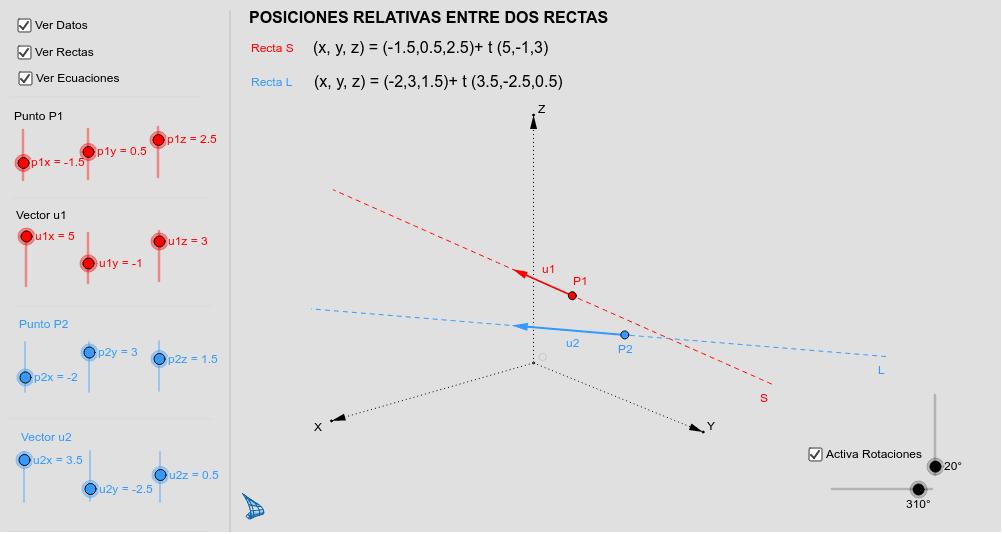 Posiciones relativas entre dos rectas