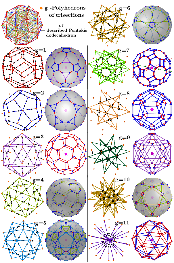 Serie of polyhedra obtained by trisection from described Pentakis dodecahedron