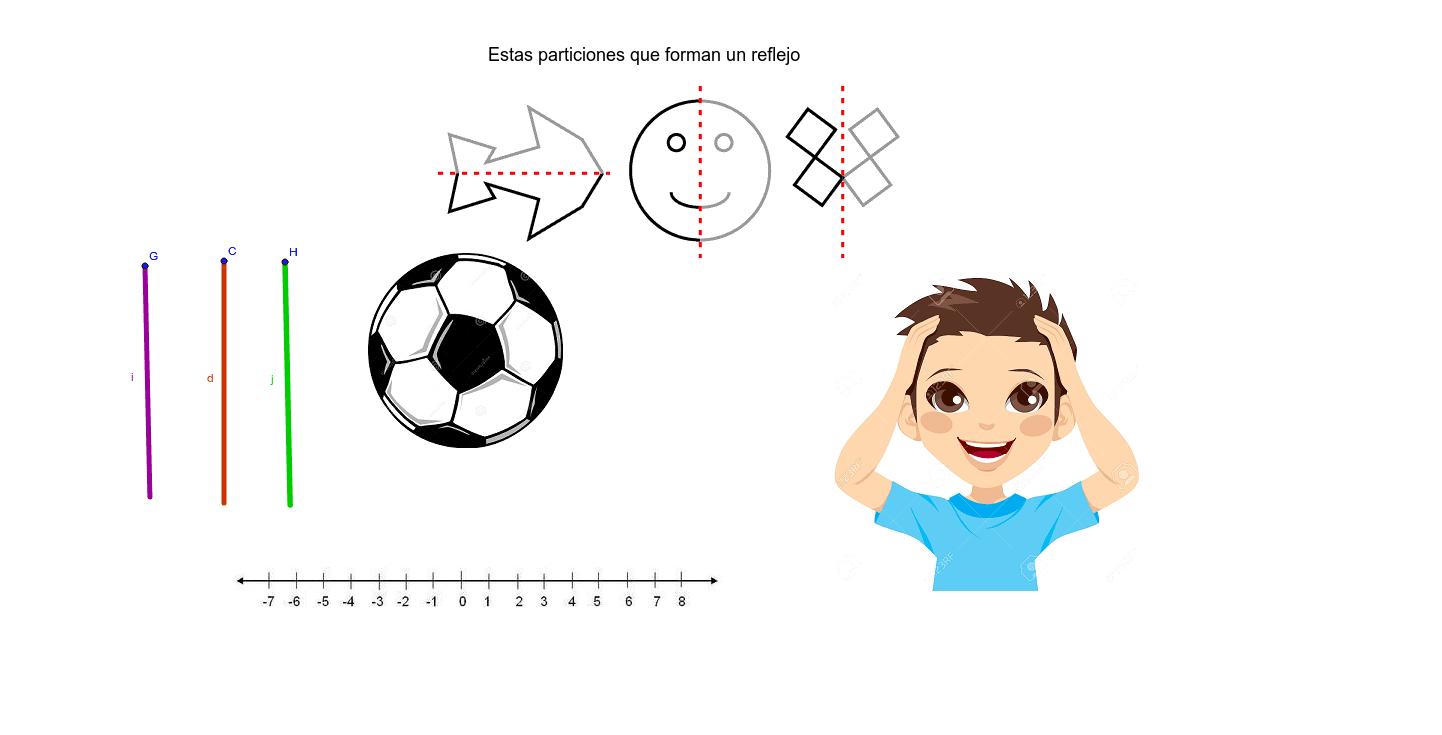 Como se muestran en las 3 imágenes iniciales hay que hacer una partición de tal manera que se refleje  una la figura, usa las barras para hacer dicha reflexión.