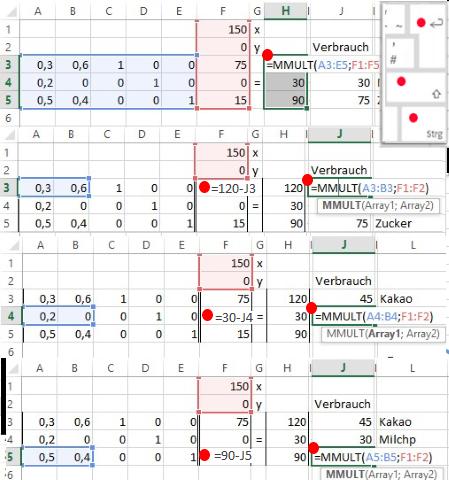 Erstellen Matrix Tableau für Tabellenklakulation