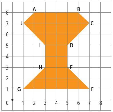 Questão 2: Para copiar este logotipo de cor laranjada, Lúcio quadriculou o desenho original, marcou alguns pontos e numerou as linhas horizontais e verticais.