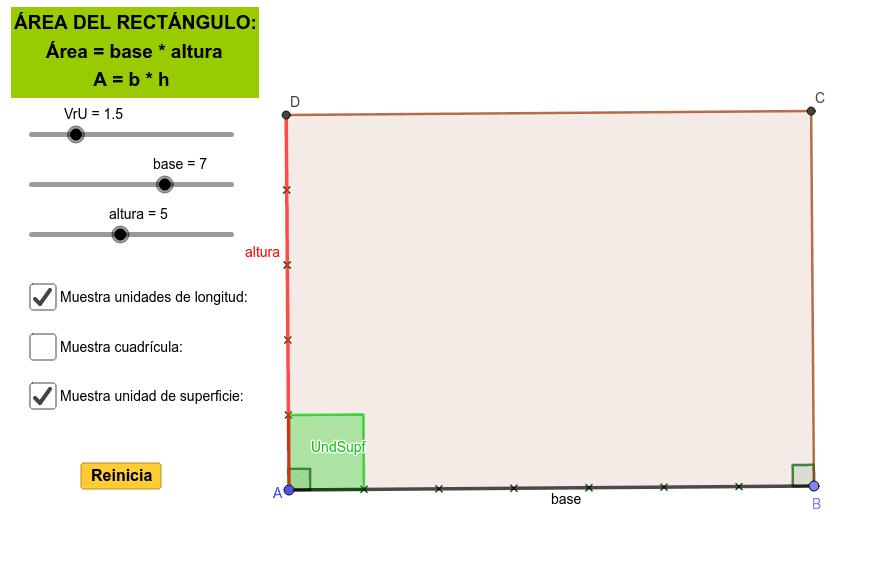Aplicativo para analizar el área de un rectángulo y su fórmula matemática