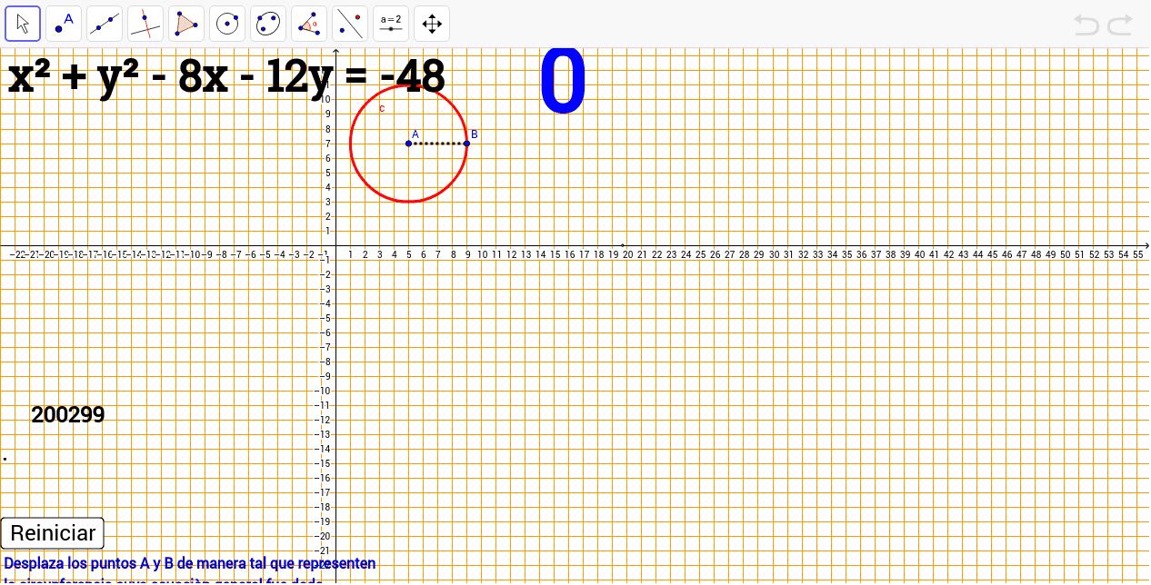 Gráfica de la circunferencia apartir de su ecuación general Presiona Intro para comenzar la actividad