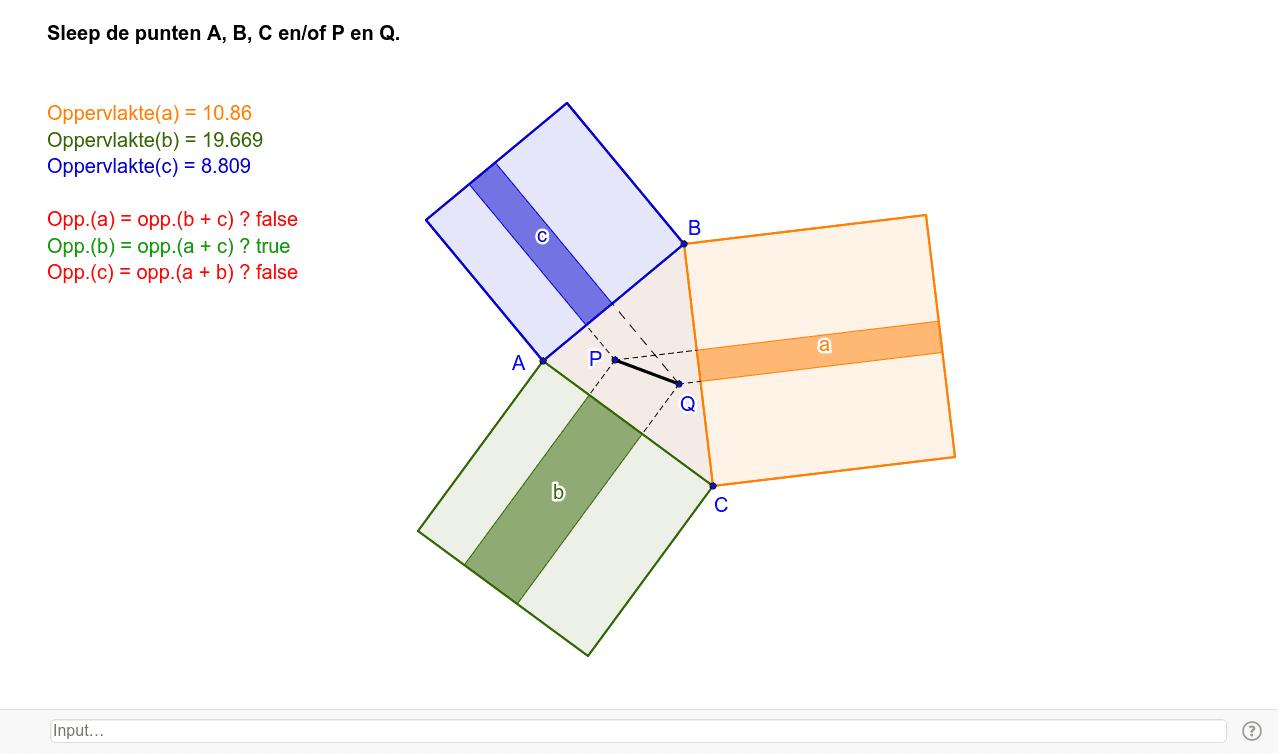 In de applet  kun je de som van twee oppervlakten vergelijken met de derde. (Je kunt de driehoek veranderen en de punten P en Q verplaatsen.) Welk vermoeden krijg je?