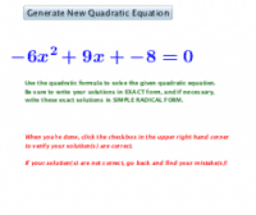 Solving Quadratic Equations Using Quadratic Formula (Quiz)