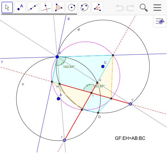 二つの円の交わる角度を変えてみる。円の交点の角度=交線の角度という関係がある。さらに、元の長さは半径が同じなら等しい。