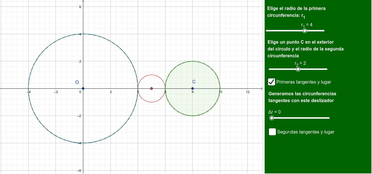 Centros de circunferencias tangentes a 2 exteriores