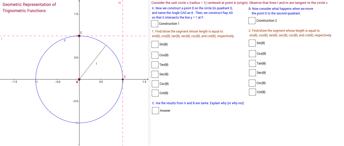 This GeoGebra file provides a geometric representation of common trigonometric functions.