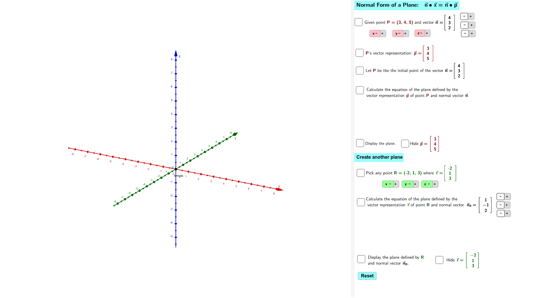 Applet - Normal Form of a Plane