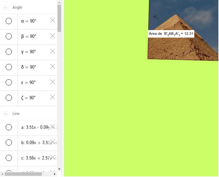 Demostración del teorema de Pitágoras aplicando áreas