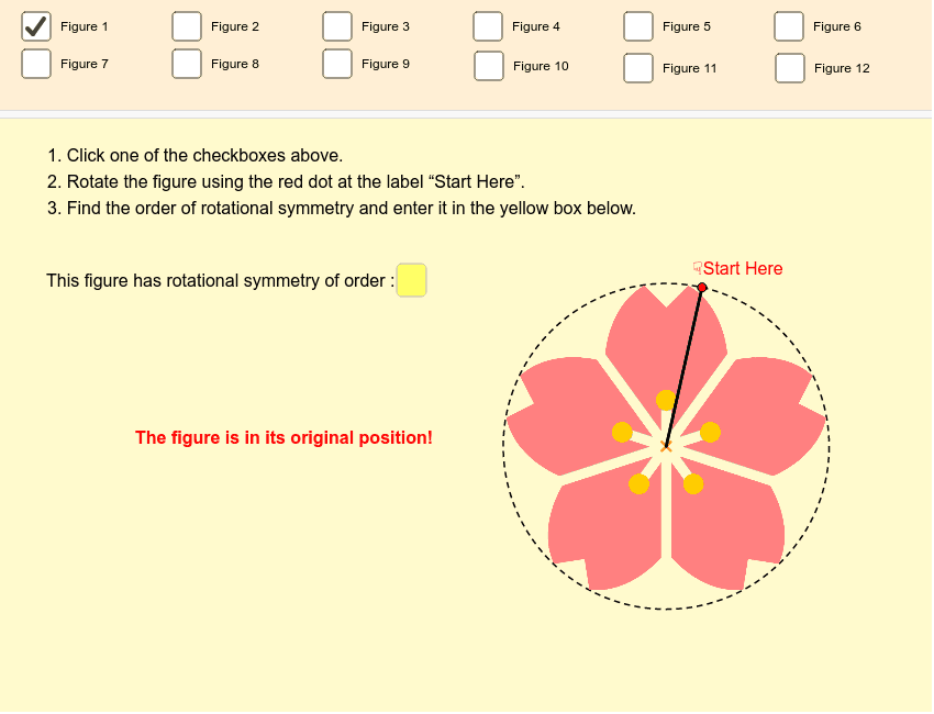 Try finding the order of rotational symmetry of all 12 figures! Press Enter to start activity