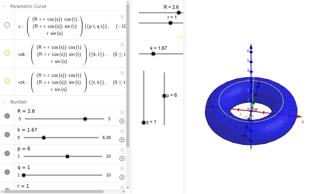 Parametrització del Tor + Corbes sobre el Tor Premeu Enter per iniciar l'activitat